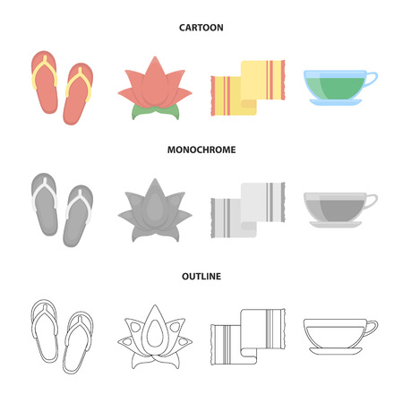 Flip-flops for the pool, lotus flower with petals, yellow towel with fringe, cup with tea, drink. Spa set collection icons in cartoon,outline,monochrome style vector symbol stock illustration web. Illustration