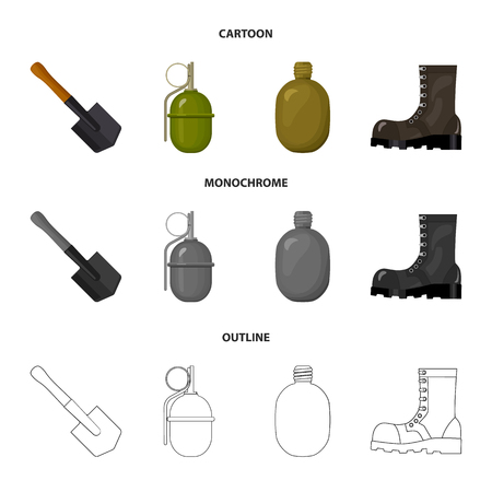Sapper blade, hand grenade, army flask, soldier boot. Military and army set collection icons in cartoon,outline,monochrome style vector symbol stock illustration web.
