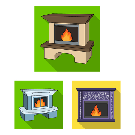 Different kinds of fireplaces flat icons in set collection for design. Fireplaces construction vector symbol stock web illustration.