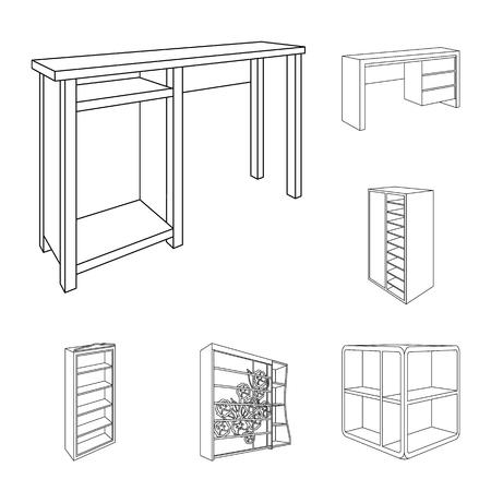 Bedroom furniture outline icons in set collection for design. Modern wooden furniture isometric vector symbol stock web illustration. Illustration
