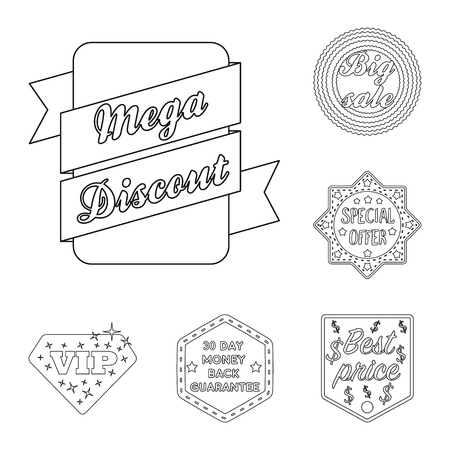 Different label outline icons in set collection for design. Index and brand vector symbol stock web illustration. Standard-Bild - 100960611