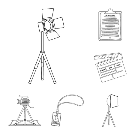 Making a movie outline icons in set collection for design. Attributes and Equipment vector symbol stock web illustration. Ilustracje wektorowe