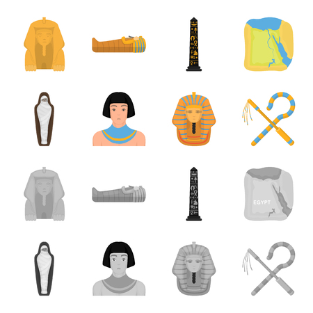 Crook and flail,a golden mask, an egyptian, a mummy in a tomb.Ancient Egypt set collection icons in cartoon,monochrome style vector symbol stock illustration . Vector Illustratie