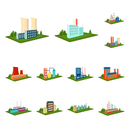 Factory and plant cartoon icons in set collection for design. Production and enterprise vector isometric symbol stock  illustration.