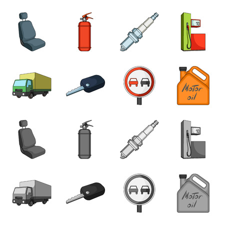 Truck with awning, ignition key, prohibitory sign, engine oil in canister, Vehicle set collection icons in cartoon,monochrome style vector symbol stock illustration web.