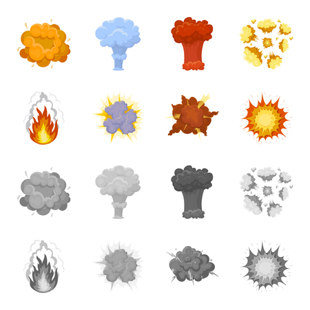 Flame, sparks, hydrogen fragments, atomic or gas explosion, thunderstorm, solar explosion. Explosions set collection icons in cartoon,monochrome style vector symbol stock illustration web.