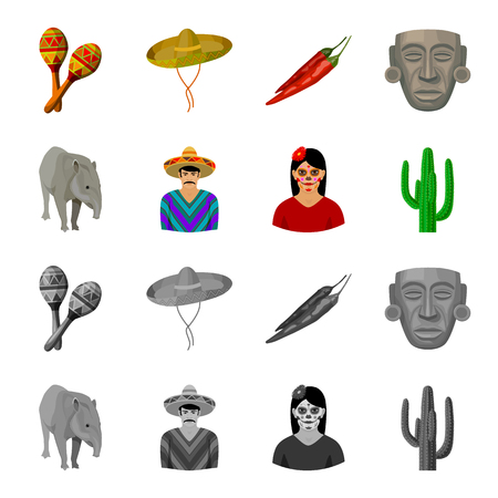 Tapir Mexican animal, a Mexican in national clothes in a poncho, a woman with a flower, a cactus. Mexico country set collection icons in cartoon, monochrome style vector symbol stock illustration web. Illustration