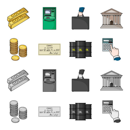 A stack of coins, a bank check, a calculator, black gold. Money and finance set collection icons in cartoon,monochrome style vector symbol stock illustration web. Ilustração
