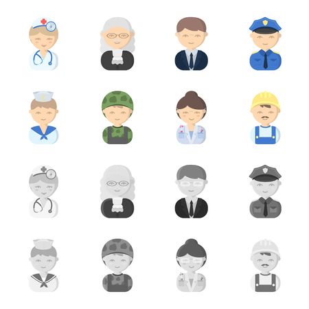 Sailor, soldier, scientist, builder. Profession set collection icons in cartoon, monochrome style vector symbol stock illustration web.
