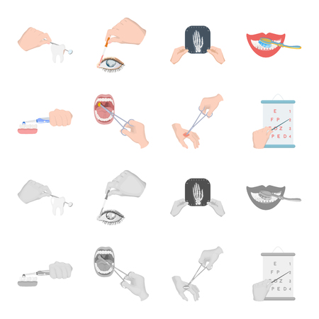 Dental care, wound treatment and other web icon in cartoon, monochrome style.oral treatment, eyesight testing icons in set collection. Ilustração