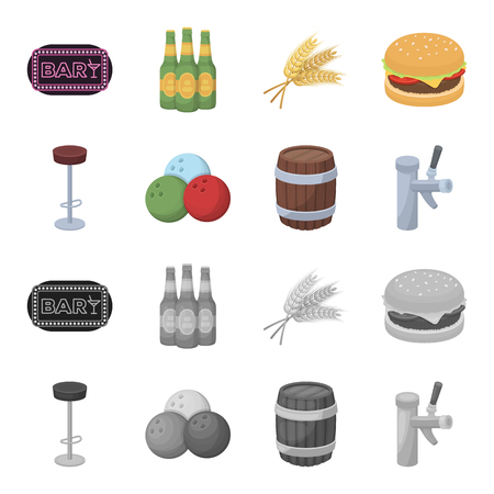Restaurant, cafe, chair, bowling ball. Pub set collection icons in cartoon, monochrome style vector symbol stock illustration web.