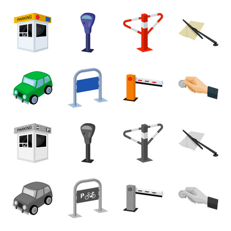 Car, parking barrier, bicycle parking place, coin in hand for payment. Parking zone set collection icons in cartoon, monochrome style vector symbol stock illustration web.