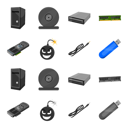 Video card, virus, flash drive, cable. Personal computer set collection icons in cartoon, monochrome style vector symbol stock illustration web.