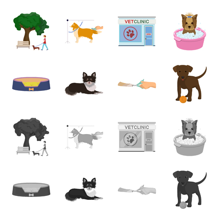 Lounger for a pet, clipping of claws in a vet clinic, lying dog, puppy with a ball. Vet clinic and pet, dog care set collection icons in cartoon, monochrome style vector symbol stock illustration web. Ilustracja