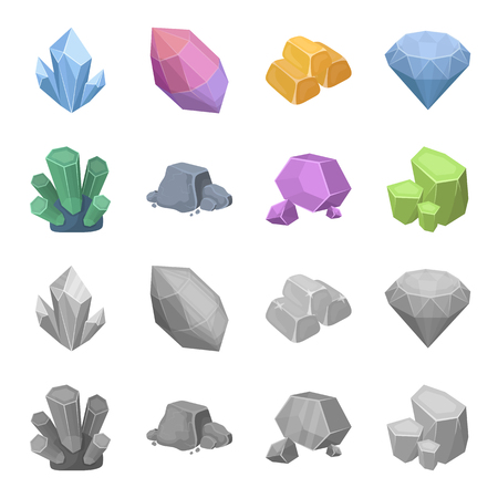 Crystals, iron ore. Precious minerals and a jeweler set collection icons in cartoon, monochrome style vector symbol stock illustration web.
