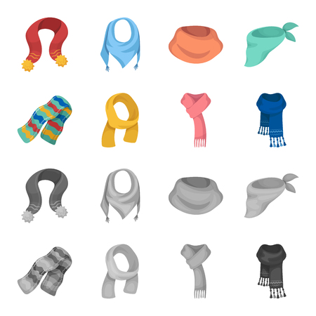 Various kinds of scarves, scarves and shawls. Scarves and shawls set collection icons in cartoon, monochrome style vector symbol stock illustration web. Stock Illustratie