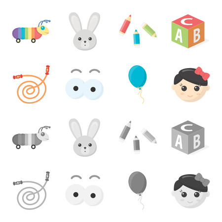 Children toy cartoon, monochrome icons in set collection for design. Game and bauble vector symbol stock web illustration.