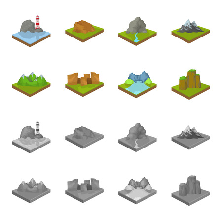 Mountains, rocks and landscape. Relief and mountains set collection icons in cartoon, monochrome style isometric vector symbol stock illustration web.