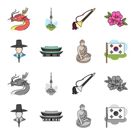 Korean in national headdress, Korean monastery, Buddha figurine, national flag. South Korea set collection icons in cartoon, monochrome style vector symbol stock illustration web.