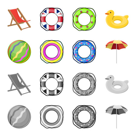 Multicolored swimming circle cartoon, monochrome icons in set collection for design. Different lifebuoys vector symbol stock web illustration. Vectores
