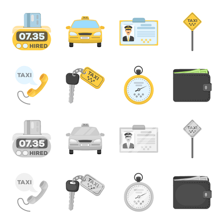 Handset with the inscription of a taxi, car keys with a key fob, a stopwatch with a fare, a purse with money, dollars. Taxi set collection icons in cartoon, monochrome style vector symbol stock illustration web.