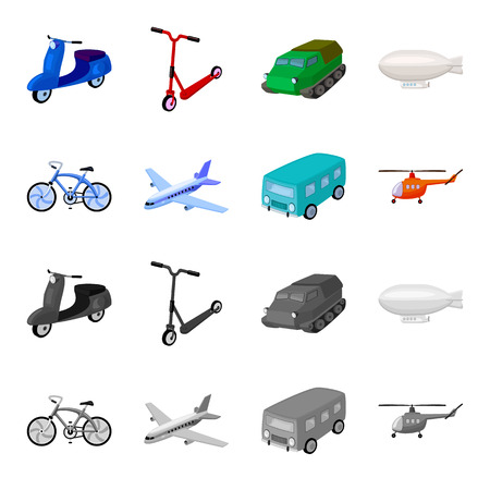 Bicycle, airplane, bus, helicopter types of transport. Transport set collection icons in cartoon,monochrome style vector symbol stock illustration . Archivio Fotografico - 100993051