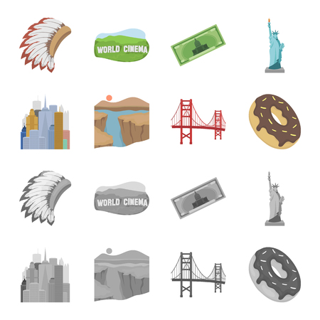 A megacity, a grand canyon, a golden gate bridge,donut with chocolate. The US country set collection icons in cartoon,monochrome style vector symbol stock illustration web.