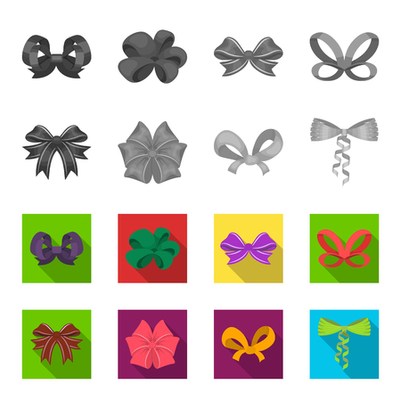 Bow, ribbon, decoration, and other  icon in monochrome,flat style. Gift, bows, node icons in set collection