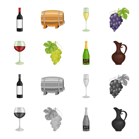 A glass of red wine, champagne, a jug of wine, a bunch. Wine production set collection icons in cartoon,monochrome style vector symbol stock illustration .