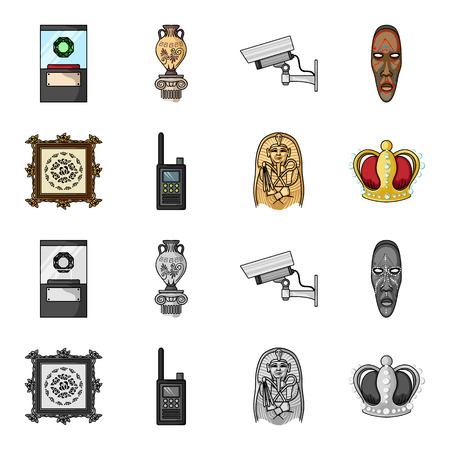 Picture, sarcophagus of the pharaoh, walkie-talkie, crown. Museum set collection icons in cartoon,monochrome style vector symbol stock illustration . Ilustração