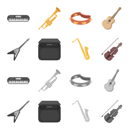 Electric guitar, loudspeaker, saxophone, violin.Music instruments set collection icons in cartoon,monochrome style vector symbol stock illustration .