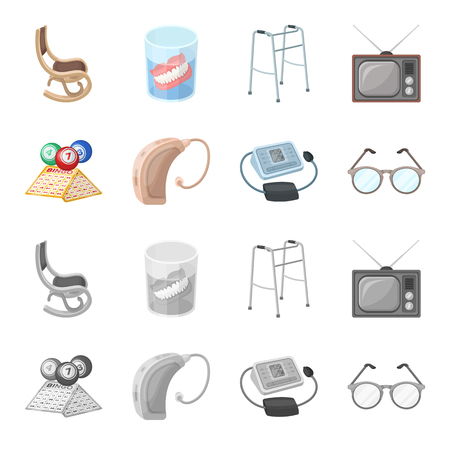 Lottery, hearing aid, tonometer, glasses.Old age set collection icons in cartoon,monochrome style vector symbol stock illustration .
