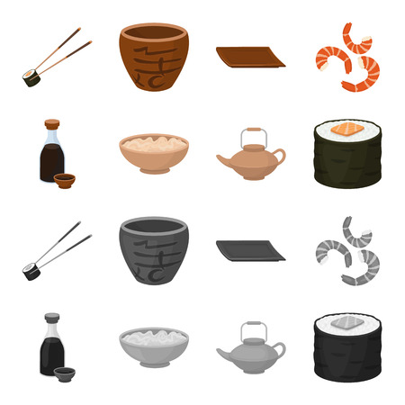 Soy sauce, noodles, kettle.rolls.Sushi set collection icons in cartoon,monochrome style vector symbol stock illustration . Ilustracja