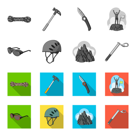 Mountaineering set collection icons  イラスト・ベクター素材