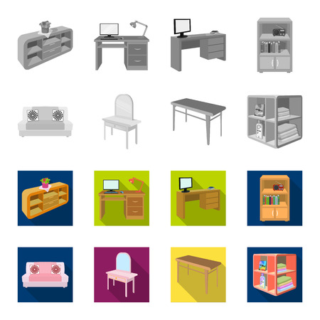 Soft sofa, toilet make-up table, dining table, shelving for laundry and detergent. Furniture and interior set collection icons in monochrome,flat style isometric vector symbol stock illustration . Ilustração