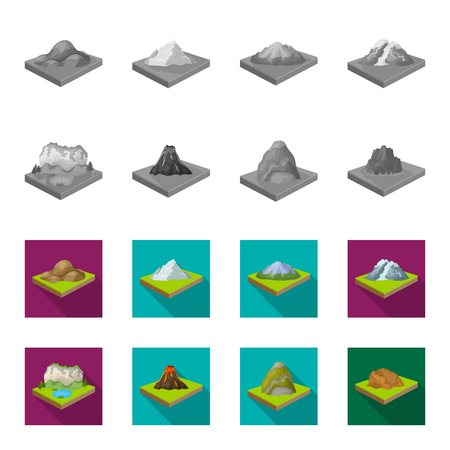 Mountains, rocks and landscape. Relief and mountains set collection icons in monochrome,flat style isometric vector symbol stock illustration .