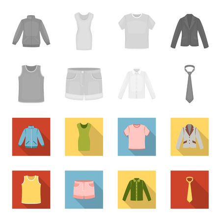Shirt with long sleeves, shorts, T-shirt, tie.Clothing set collection icons in monochrome,flat style vector symbol stock illustration web.