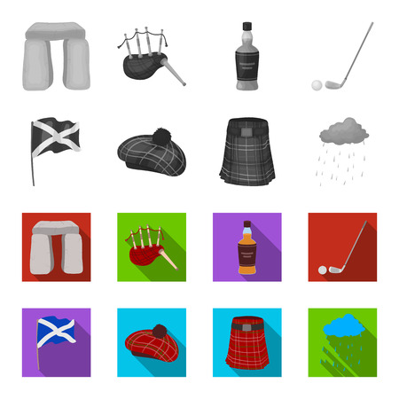 Flag, kilt, rainy weather, cap.Scotland country set collection icons in monochrome,flat style vector symbol stock illustration web.