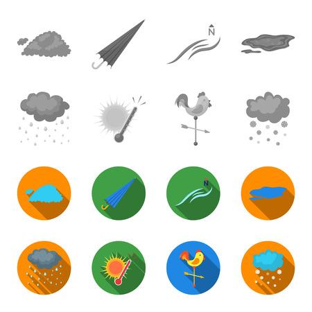 Rain, snow, heat, weathervane. The weather set collection icons in monochrome,flat style vector symbol stock illustration .