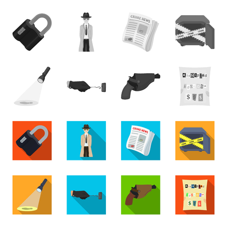 The detective flashlight illuminates the footprint, the criminal hand with the master key, a pistol in the holster, the kidnapper claim. Crime and detective set collection icons in monochrome,flat style vector symbol stock illustration.