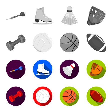 Blue dumbbell, white soccer ball, basketball, rugby ball. Sport set collection icons in monochrome,flat style vector symbol stock illustration .