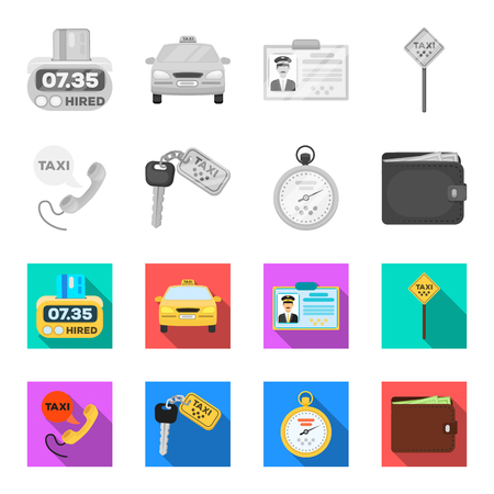Handset with the inscription of a taxi, car keys with a key fob, a stopwatch with a fare, a purse with money, dollars. Taxi set collection icons in monochrome,flat style vector symbol stock illustration .