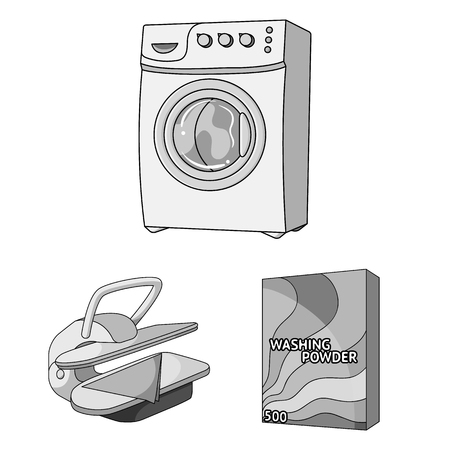 Dry cleaning equipment monochrome icons in set collection for design. Washing and ironing clothes vector symbol stock  illustration. Stock Illustratie
