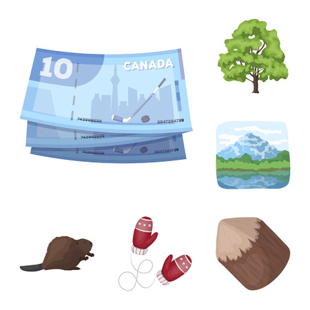 Country Canada cartoon icons in set collection for design. Canada and landmark vector symbol stock  illustration. Stock Illustratie