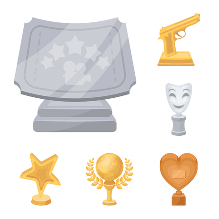 Film awards and prizes cartoon icons in set collection