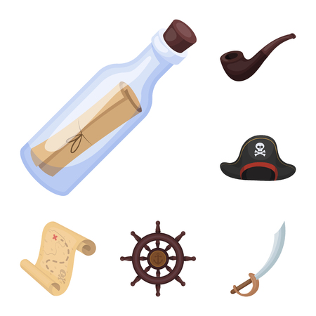 Pirate, sea robber cartoon icons in set collection for design. Treasures, attributes vector symbol stock web illustration. Vectores