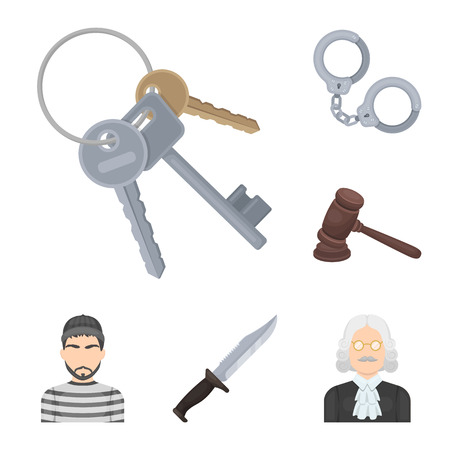 Prison and the criminalcartoon icons in set collection for design.Prison and Attributes vector symbol stock web illustration. Illustration