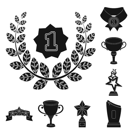Awards and trophies black icons in set collection for design.