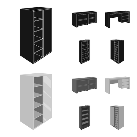 Wardrobe with mirror, wardrobe, shelving with mezzanines. Bedroom furniture set collection icons in black,monochrom style vector symbol stock illustration . Çizim