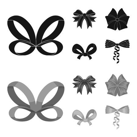 Bow, ribbon, decoration, and other  icon in black,monochrom style. Gift, bows, node icons in set collection